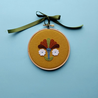 Vintage inspired applique flower hoop art