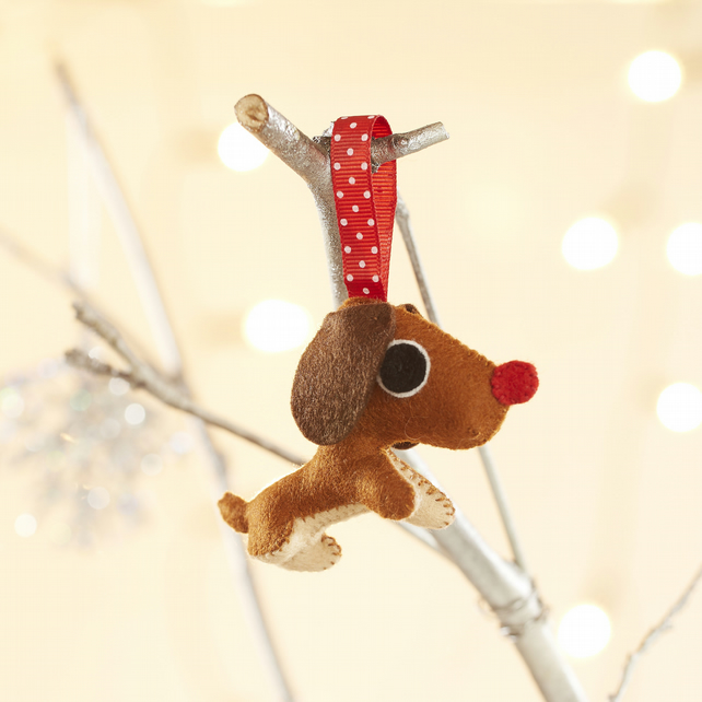 Dachshund Christmas decoration, hanging ornament