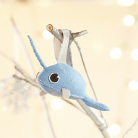 Blue sparkly Narwhal Christmas tree decoration