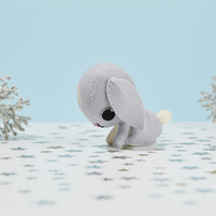 Grey floppy eared rabbit ornament - woodland animal gift