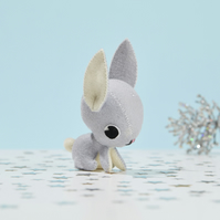 Grey bunny rabbit ornament - woodland animal gift