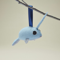 Icy blue Narwhal hanging ornament