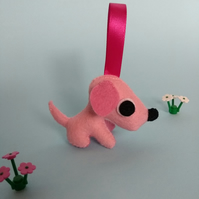 Pink hanging dog ornament - Raspberry Ripple ice cream pup