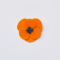 Orange poppy flower brooch