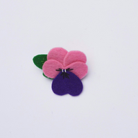 Pink and purple pansy brooch