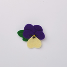 Purple and cream pansy brooch