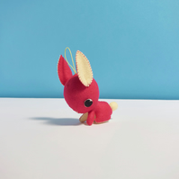 Hot pink hanging bunny rabbit ornament