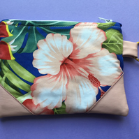 Tropical Fabric Pouch, Make up Bag or Clutch