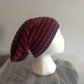 Slouch Hat Vegan Friendly Bamboo Red Blue Stripes