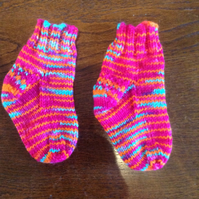 Hot Pink, Orange, Electric Blue Baby Socks Hand Knit