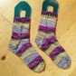 Hand Knit Socks Blue Purple Green size uk 7