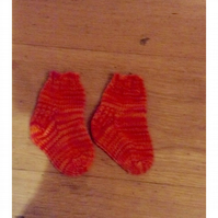 Hand Knit Baby Socks  0-3 months Hot Pink & Orange mix