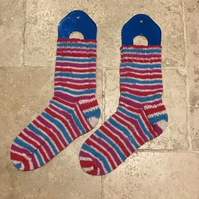 Hand Knit Stripey Socks Red White Pink Blue size uk 5