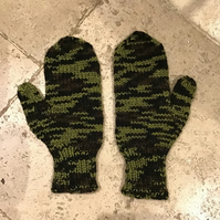 Camouflage Mittens Hand Knitted