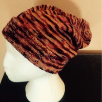 Brown Peach Orange Beanie Slouch Hat