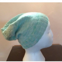 Pastel Sparkly Mint Green Slouch Beanie Hand Knit