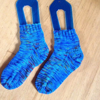 Blue Hand Knit Socks adult size 6-7