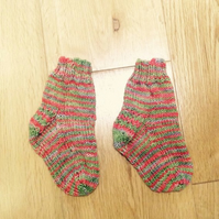 Orange Green Red Striped Baby Socks