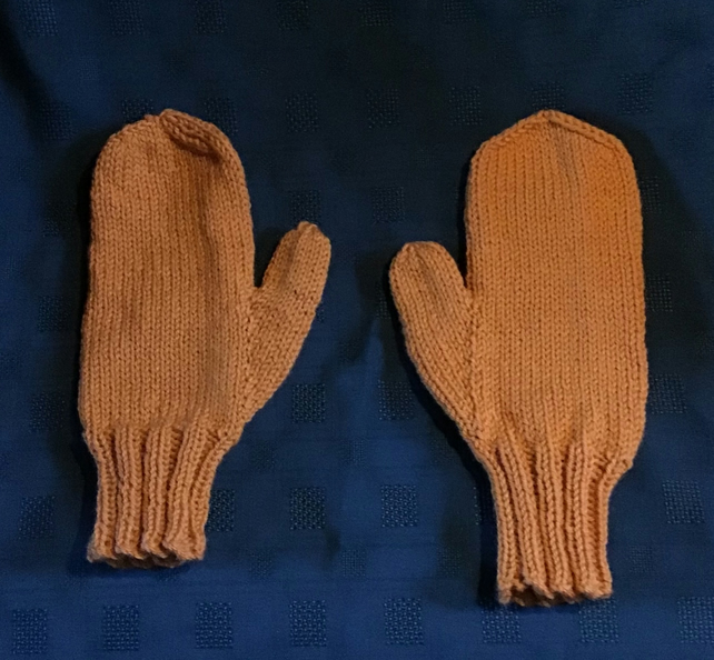 Mustard Yellow  Hand Knit Mittens