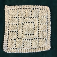 Hand knit cotton washcloth dishcloth cream pretty lace detail