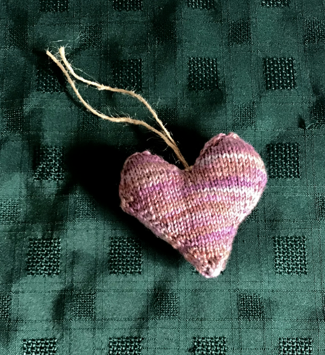 Mauve & Purple Knitted Lavender Heart