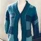 Turquoise striped open front cardigan