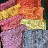 Hand Knit Cotton Washcloth or Shower Puff Bundle of 3 mix & match