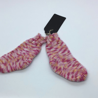 Hand Knit Bamboo Baby Socks  0-3 months Pink