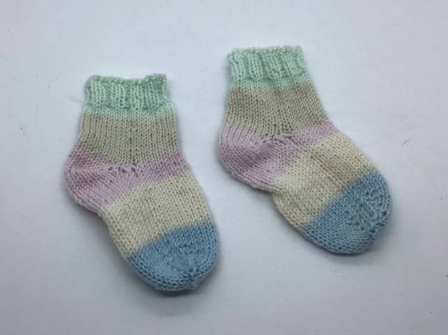 Hand Knit Baby Socks  0-3 months Pastel stripes