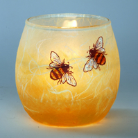 Bee candle holder - Strawsilk on glass