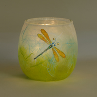 Dragonfly Candle Holder - strawsilk on glass