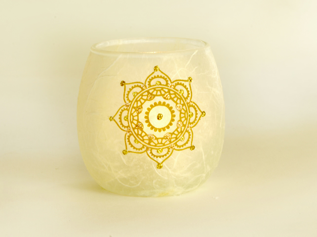 Golden star mandala candle holder