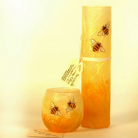 Bee bud vase and candle holder set.