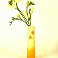 Bee stem vase - Strawsilk glass