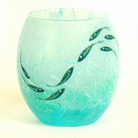 Shimmering fish medium candle holder