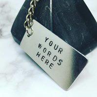 Customisable Sliver Look Aluminium Keyring, have your own words added to this.