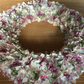 Unique, handmade summer rag wreath. Vintage style cotton.