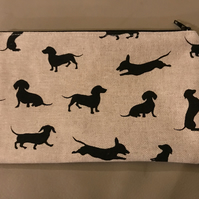 Sausage Dog purse, pencil case or makeup bag