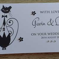 Personalised Wedding Money Gift Voucher Wallet Cats