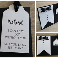 Will You Be My Best Man-Usher-Groomsman? Tuxedo Tag Card