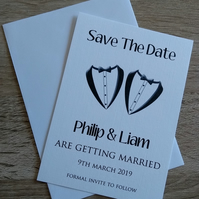 Tuxedo Save The Date Cards- Mr and Mr Same Sex Gay & Civil