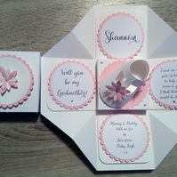 Will You Be My Godmother Father Parent? Flower Exploding Box Card