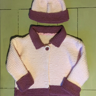 Cardigan with matching hat