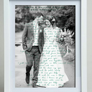 "Bespoke ""first dance"" lyrics framed wedding print gift"