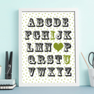 Alphabet I LOVE YOU personalised kids nursery baby -  framed print