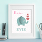 E initial elephant personalised print