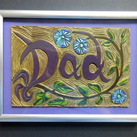 """Dad"" lino carving, painted and framed"