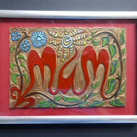 """Mum"" lino carving, painted and framed"