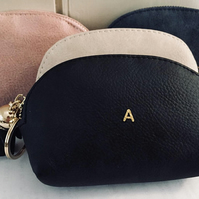 Personalised Initial Faux Leather Purse - Black