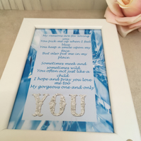Gorgeous You Handmade Original Words and Design Print in frame